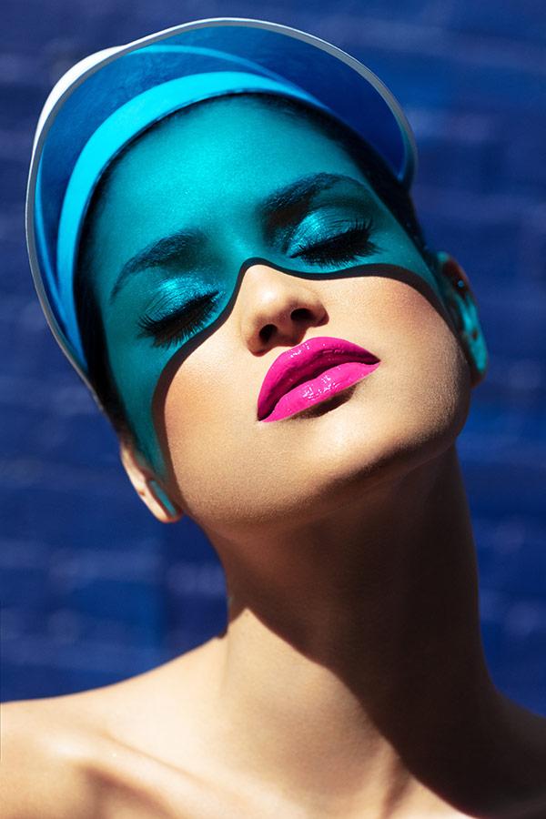 Creativity on a Budget model with DIY headpiece visor as gels outside - Lindsay Adler Photography