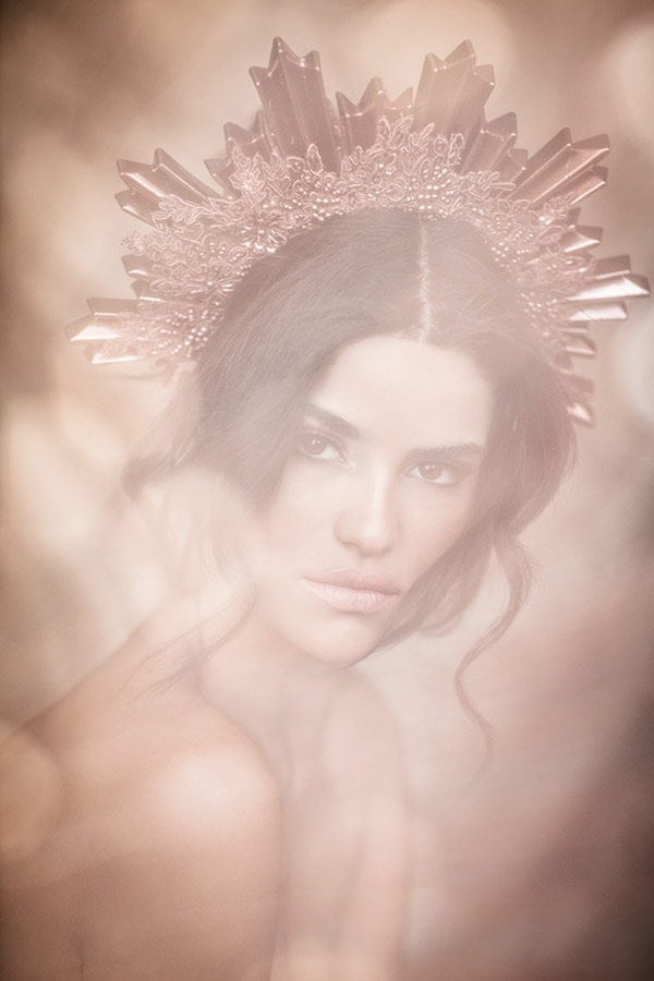 Creativity on a Budget model with DIY crown headpiece and fog spray - Lindsay Adler Photography