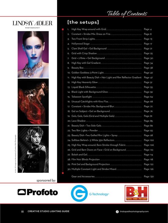 Creative Studio Lighting Guide of contents - Lindsay Adler