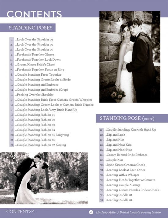 The Bridal Couple Posing Guide by Lindsay Adler - table of contents