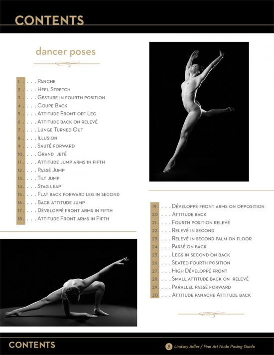 Fine Art Nude Dancer Posing Guide table of contents - Lindsay Adler Photography
