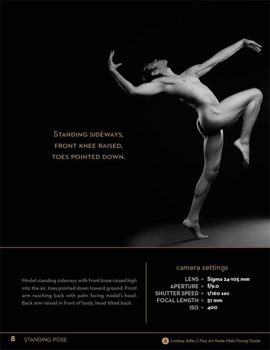 Fine Art Nude Male Posing Guide by Lindsay Adler - male standing sideways front knee raised