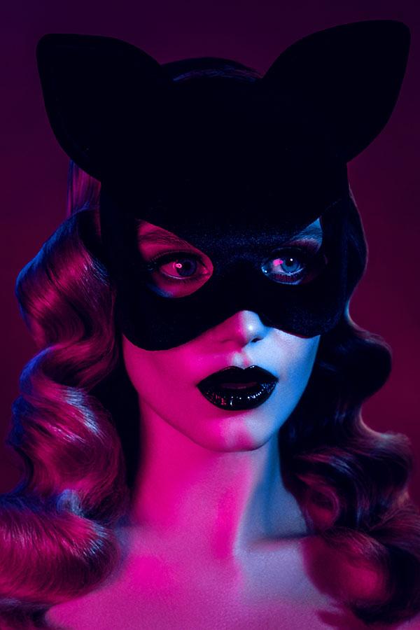 Model wearing mask with gels on face - Lindsay Adler Photography