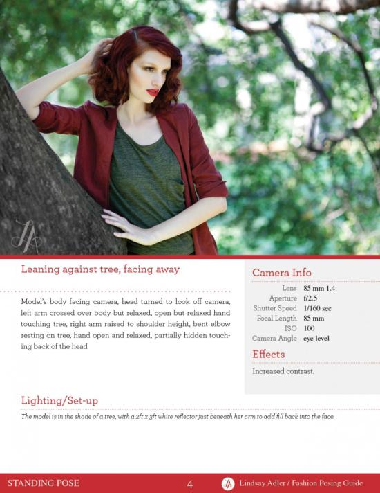Lindsay Adler - Fashion Posing Guide - Example pose model learning on tree