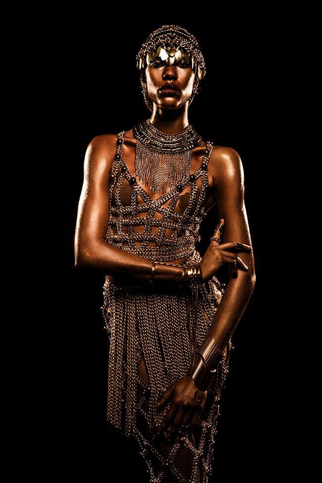 Creative Studio Lighting - African American Model - Golden Glow - Lindsay Adler Photography