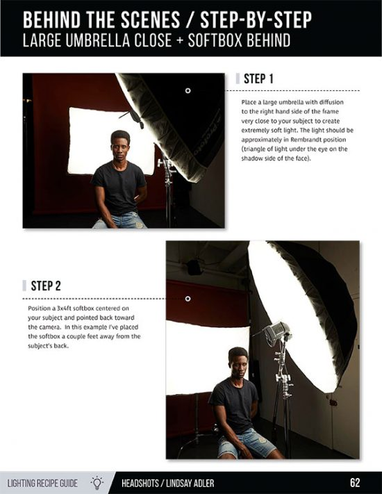 Headshot Lighting Recipe Guide - Lindsay Adler Photography - African American Model on white backdrop behind the scenes