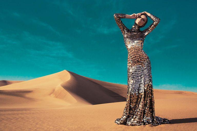 Finding Your Style - Lindsay Adler Photography - model in glittery glam dress in desert